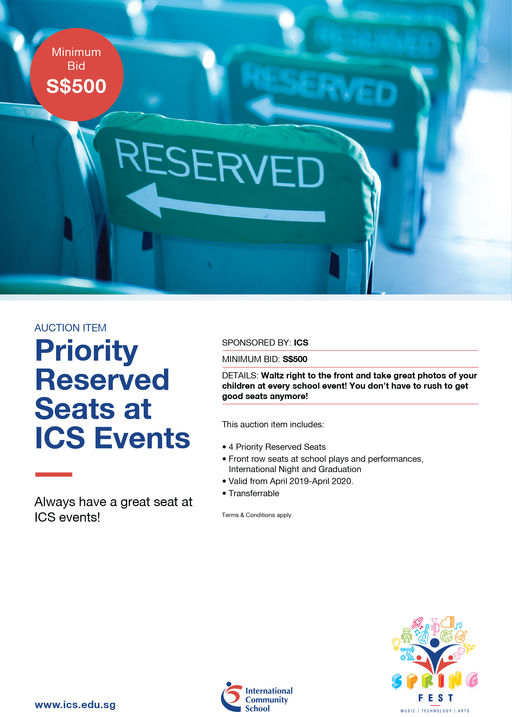 Priority Reserved Seats at ICS Events