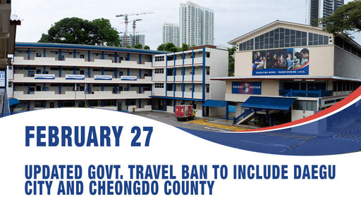 February 27, Updated Govt. travel ban to include Daegu city and Cheongdo county, Republic of Korea
