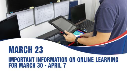 March 23, Important information on online learning for March 30 - April 7