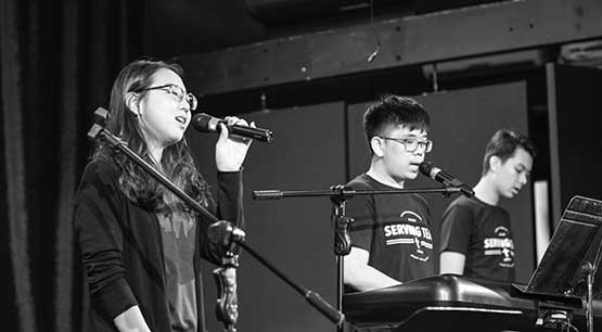 ICS Singapore students singing during chapel