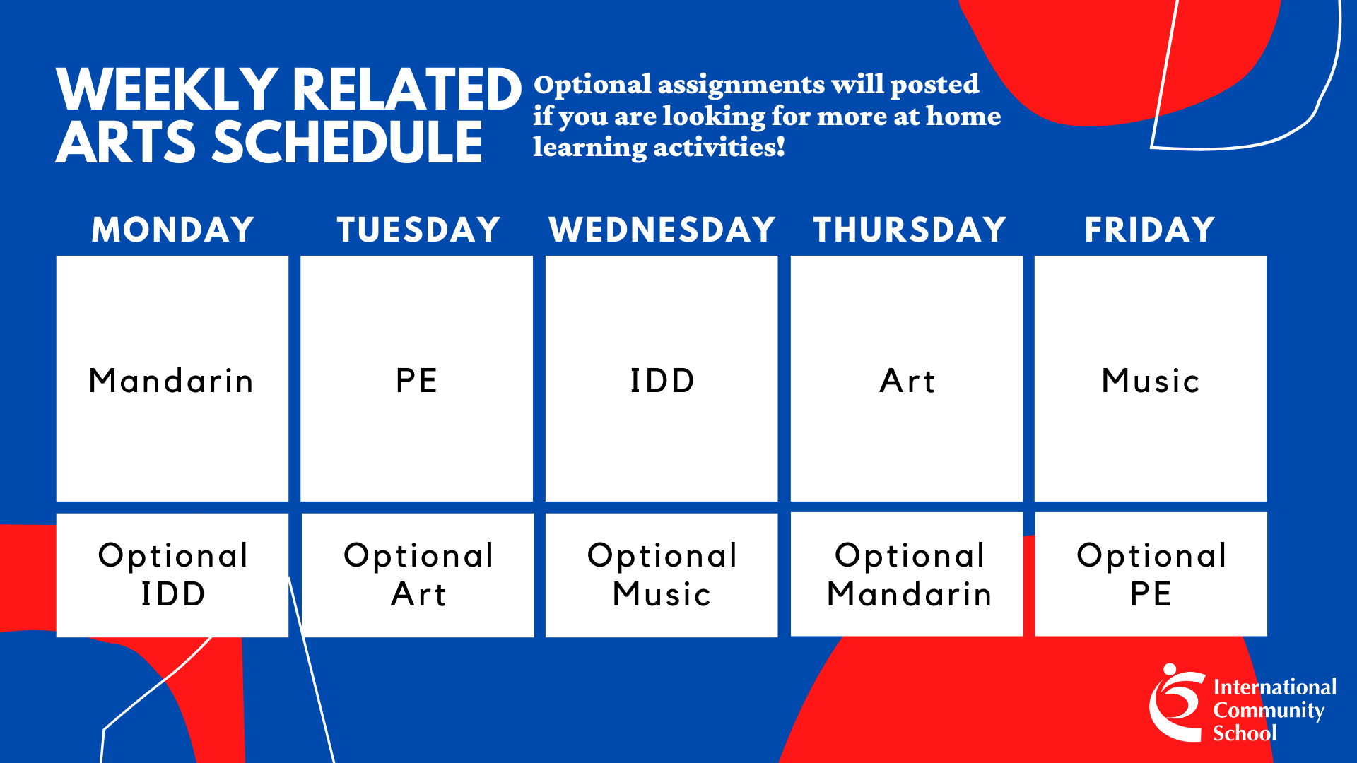 ICS Singapore elementary school weekly related arts schedule