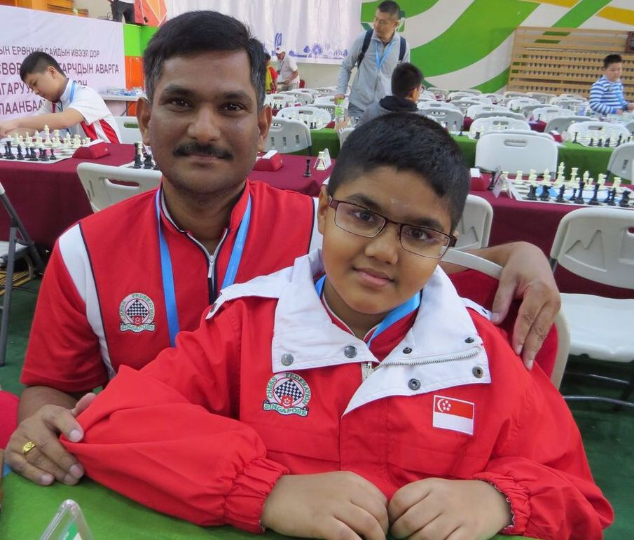 Siddharth chess champion with father