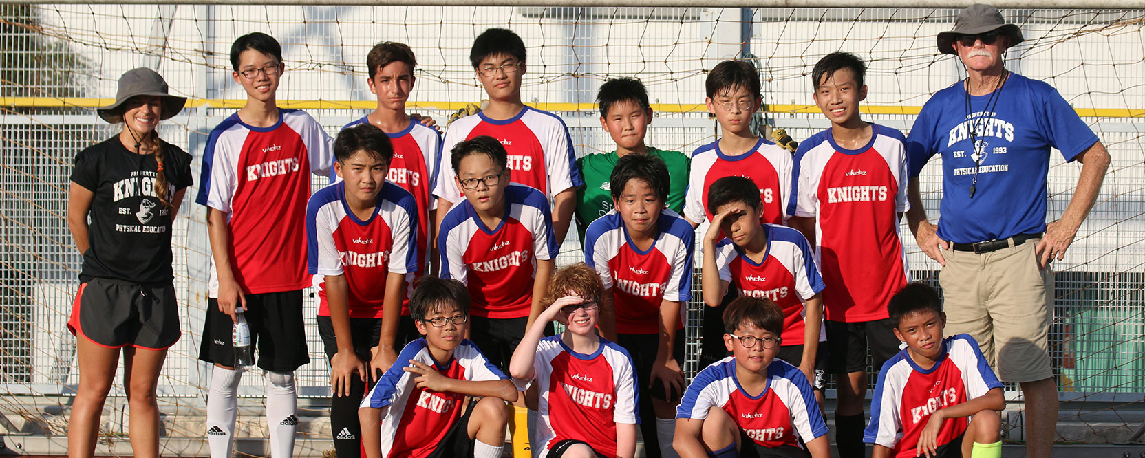 ICS Singapore middle school soccer team poses for a team photo